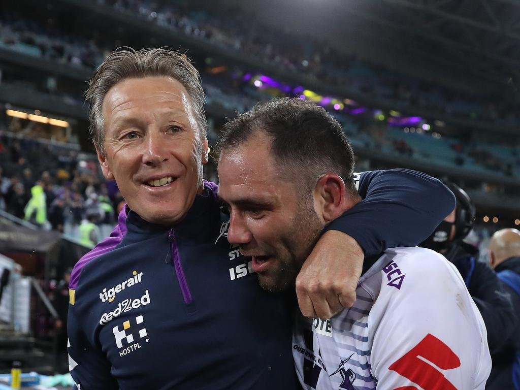 Melbourne coach Craig Bellamy celebrates victory with Cameron Smith after the 2020 NRL Grand Final. Picture: Brett Costello
