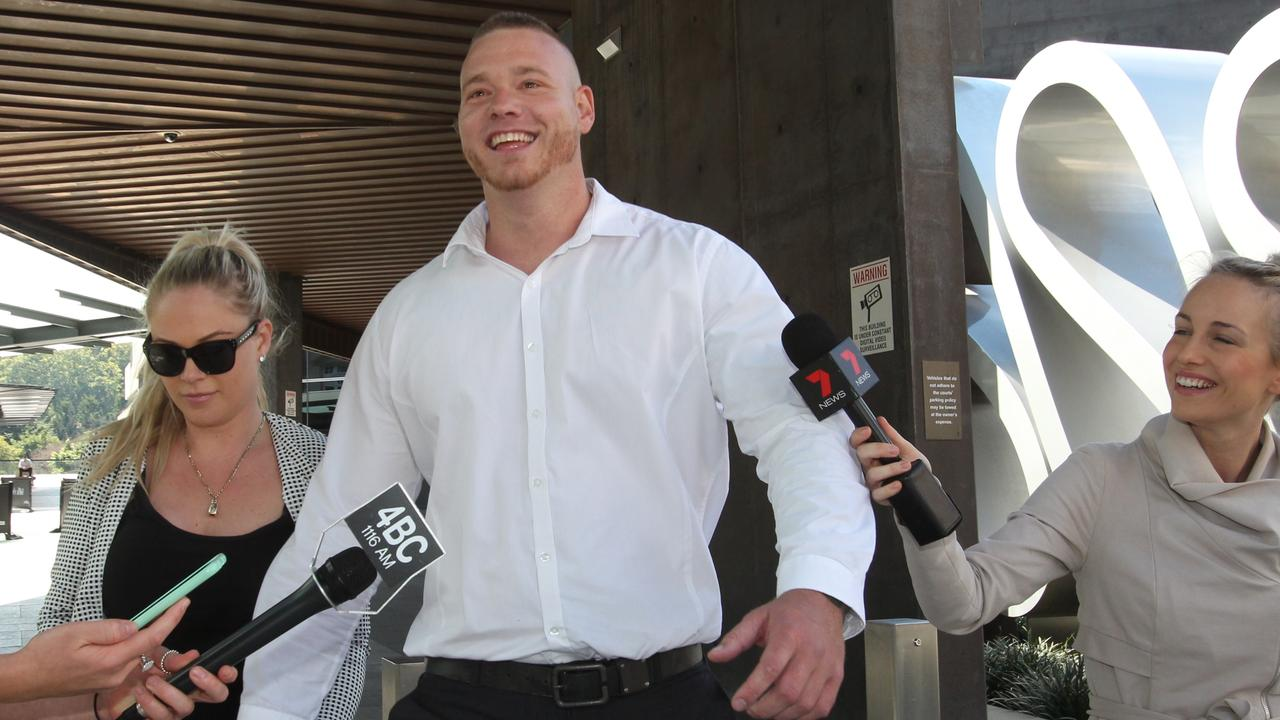Adam White outside Brisbane Magistrates Court. Picture: AAP