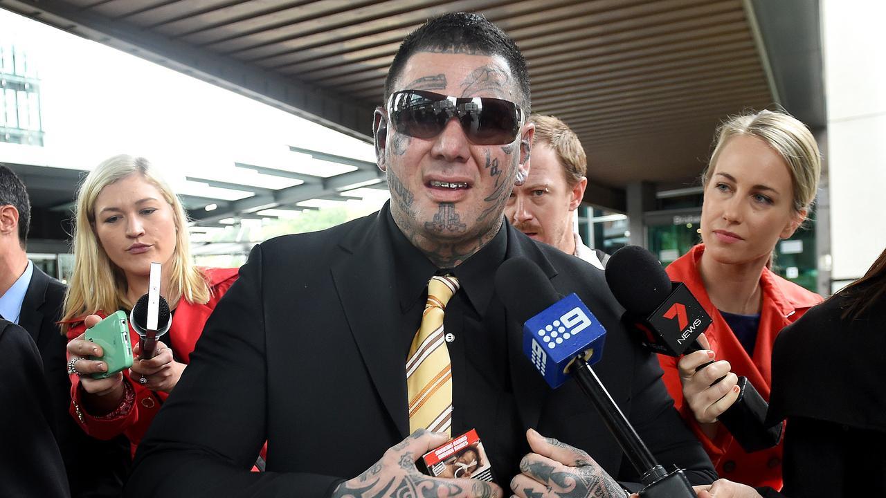 Former Bandido bikie gang member Jacques Teamo leaves Brisbane Magistrates Court. Picture: AAP