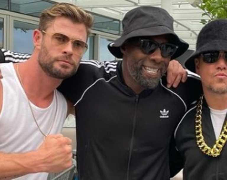 Chris Hemsworth, Idris Elba and Matt Damon at an 80s style dress up party in Sydney. Picture: @chrishemsworth