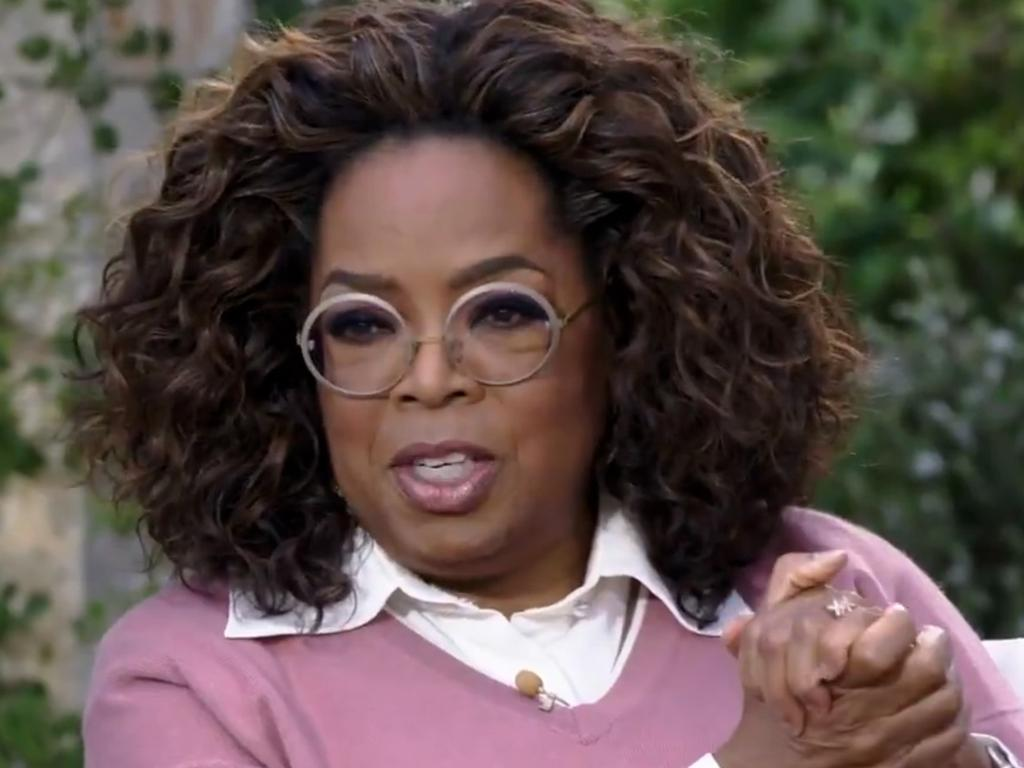 Oprah Winfrey in a clip from the interview with Meghan Markle and Prince Harry. Picture: CBS