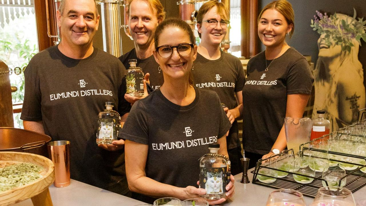 Eumundi Distillers Paul Thomas, head distiller Mick Reif, Jack Harvison, Maia Bradley and front, Simone Worts.