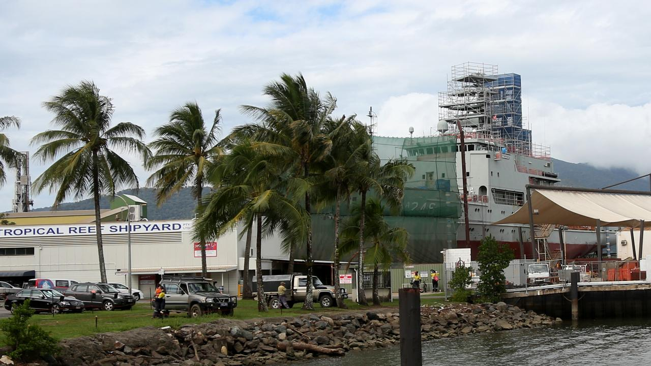 HMAS Melville in dry dock at Tropical Reef Shipyard in Portsmith. PICTURE: STEWART MCLEAN