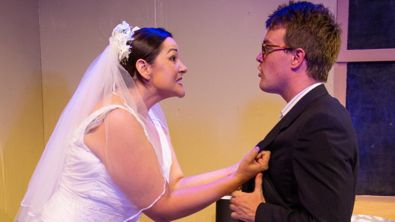 SECRET BRIDESMAIDS' BUSINESS: Isabella Stokes as Meg the bride and Tim Heffernan as James.