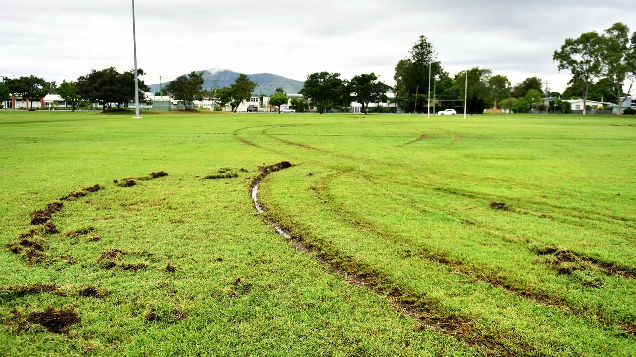 Vandals have targeted the Teachers West Rugby Union Club's grounds once again. The Cambridge St field has been ripped up by a vehicle. Picture: Alix Sweeney