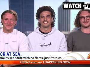 Friends swept off on mattress at sea (Sunrise)