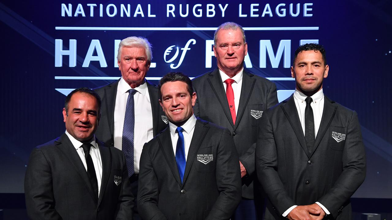 Ray Warren pictured with Stacey Jones, Danny Buderus, Craig Young and Ruben Wiki at the 2019 NRL Hall of Fame awards.