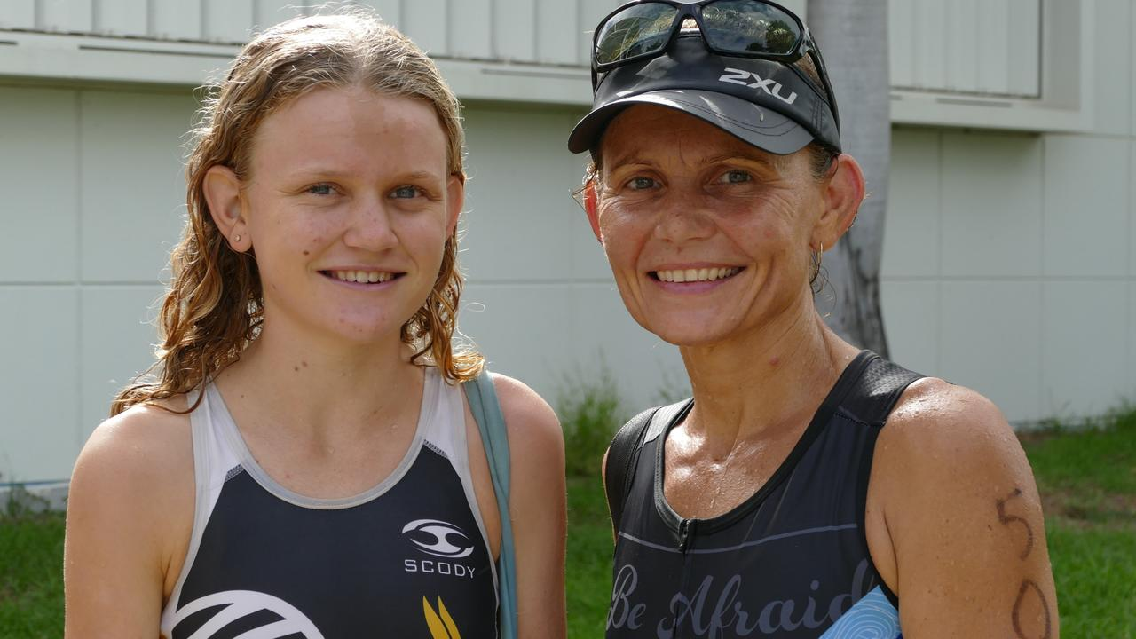 Sharnti Woodham and her mother Ange went one, two in the sprint event at the Rockhampton Triathlon on Sunday.