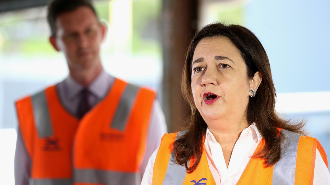 Queensland Premier Annastacia Palaszczuk had a tense press conference on Monday morning. Picture: NCA NewsWire / Jono Searle