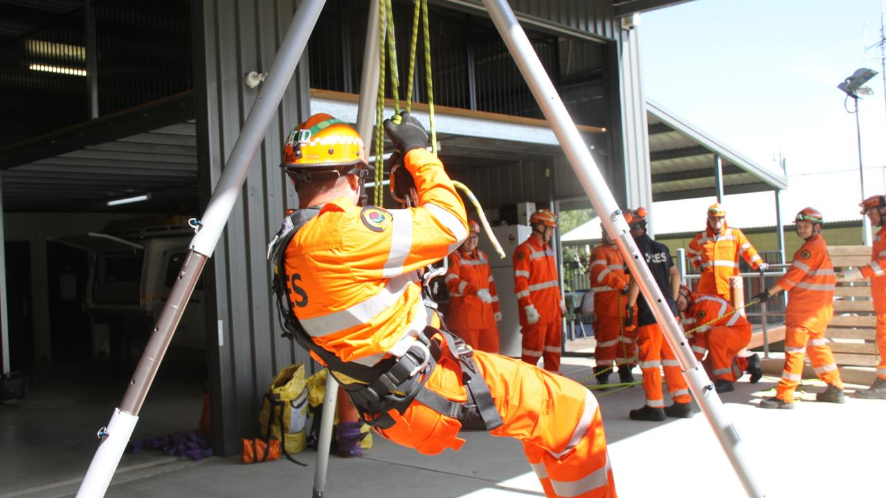 Training for nine SES members from Ballina, Casino, Coraki and Lismore who undertook Participate In A Rescue Operation at Lismore Unit on Sunday February 28, 2021. Photo: Alison Paterson