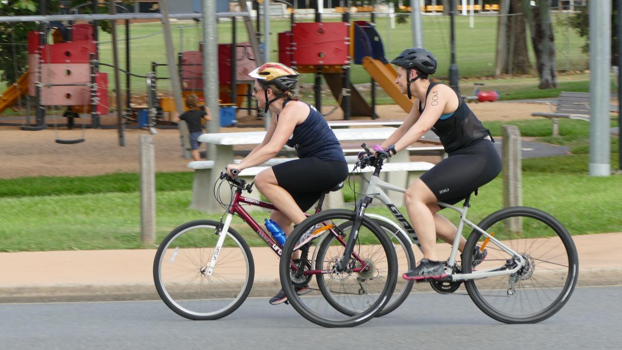 Competitors on the bike leg of the Rockhampton Triathlon.