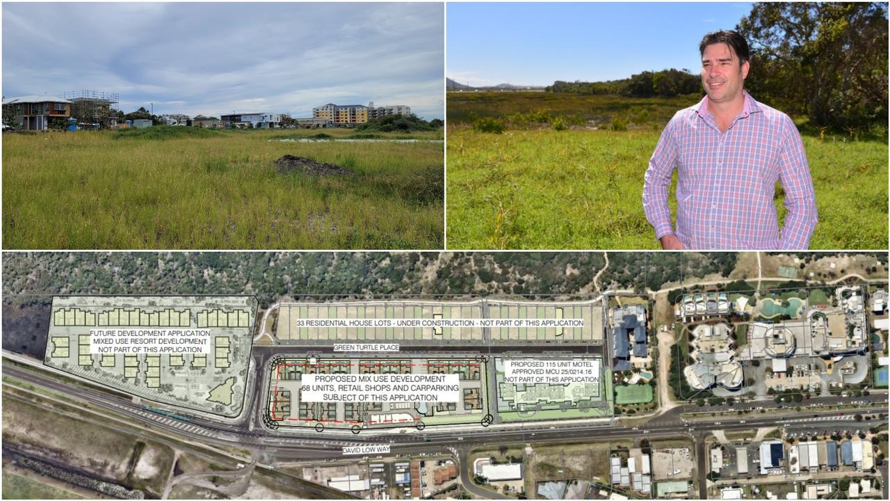 The 5.5ha parcel of beachfront land at Marcoola where The Shore mixed use development will sit. Pictured is project director Damon Falcongreen.