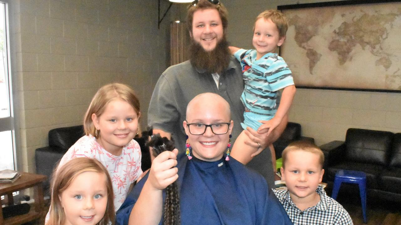 Rasmussen family supporting mum after she shaved her hair for a good cause.