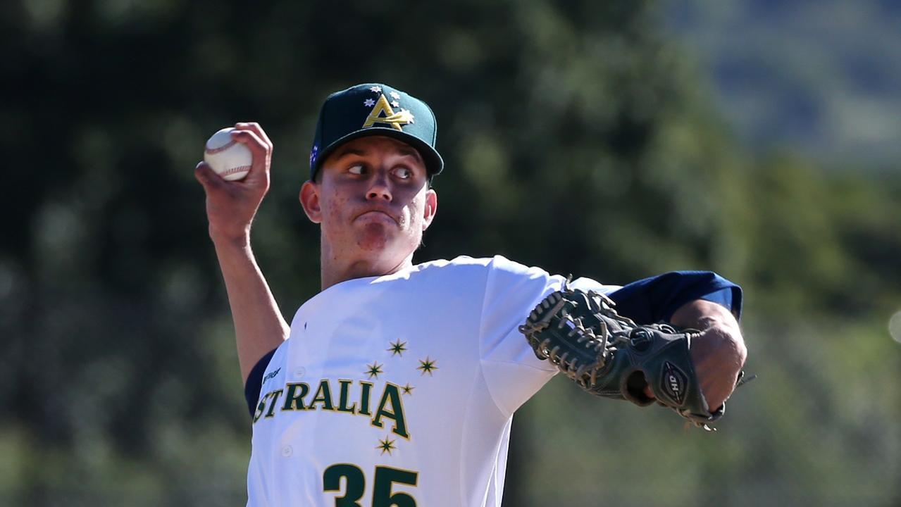 Pine Hills Lightning baseballer Brandan Bidois.Photo: SMPIMAGES.COM / Baseball Australia.