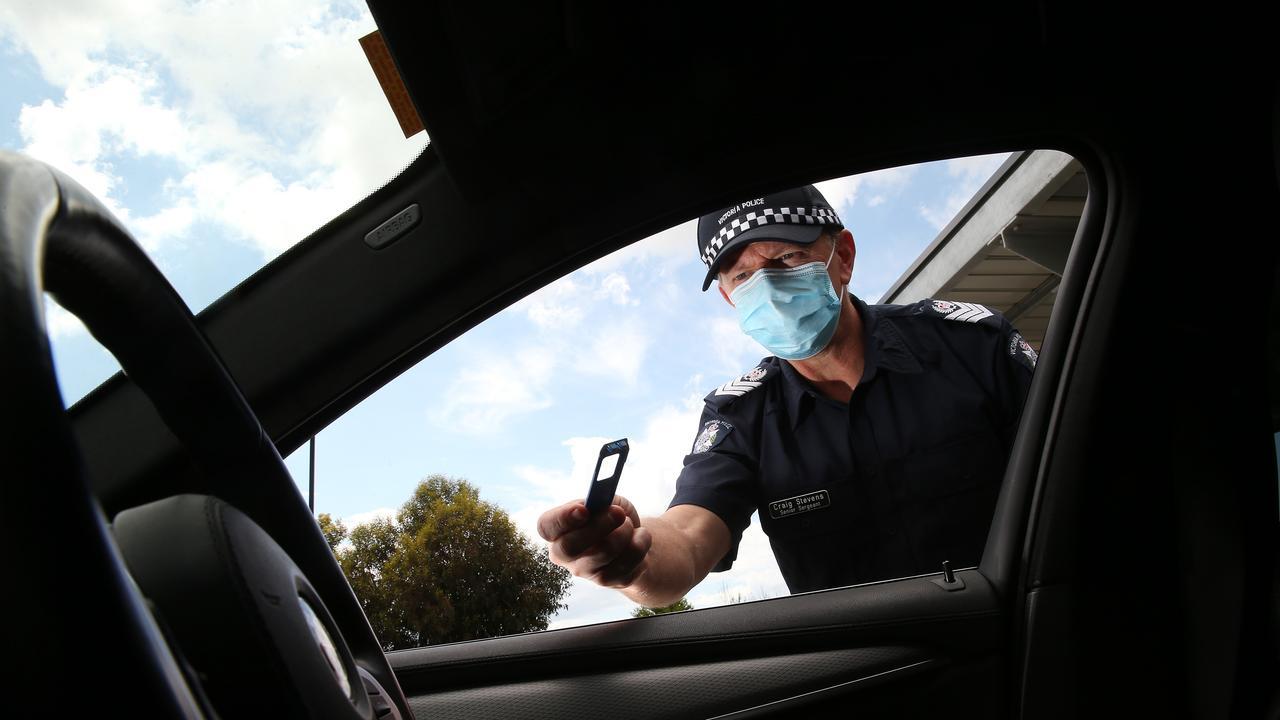 Sen Sgt Craig Stevens with a drug testing kit. Picture: Alison Wynd