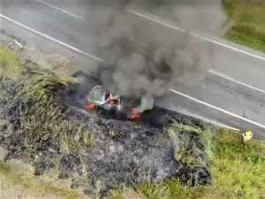 VIDEO: Drone footage captures terrifying car inferno