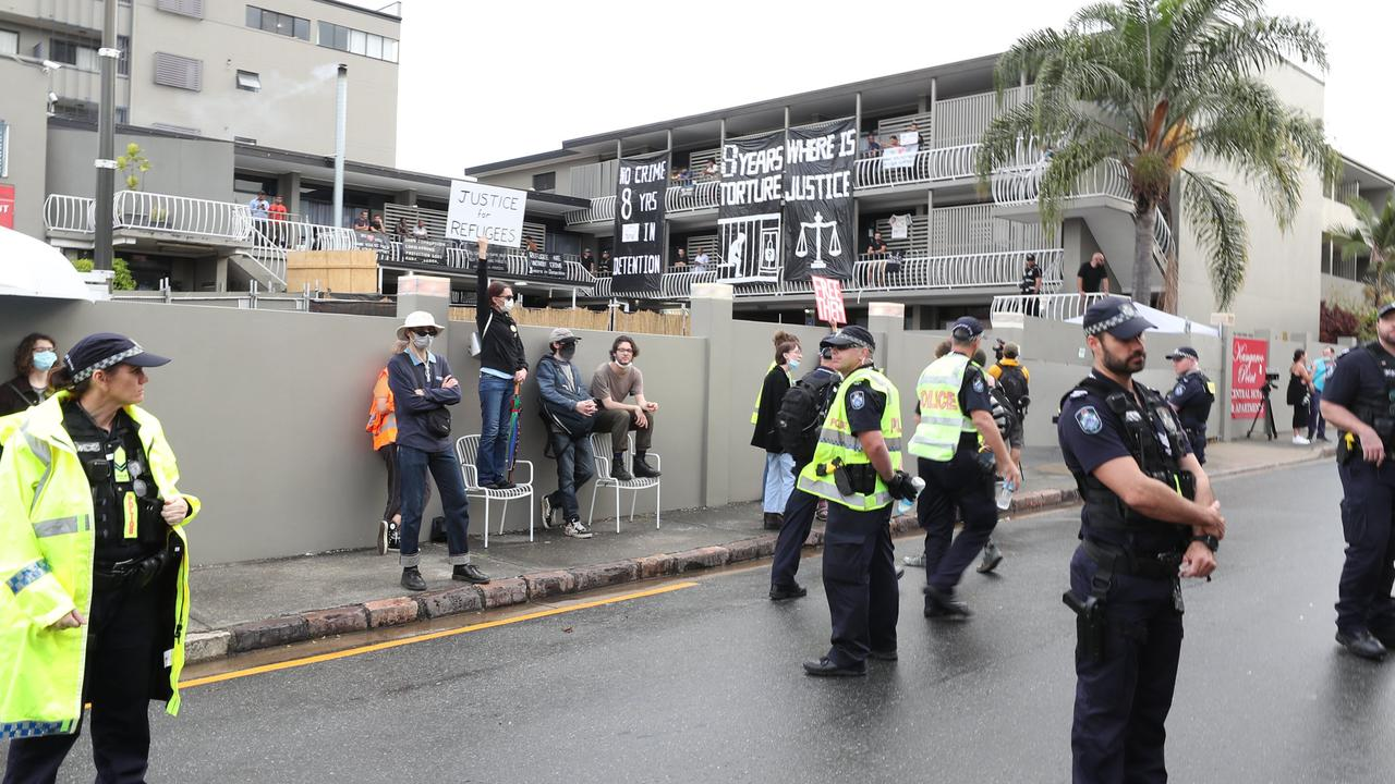 People protest outside a Kangaroo Point Hotel last year. Pic Peter Wallis
