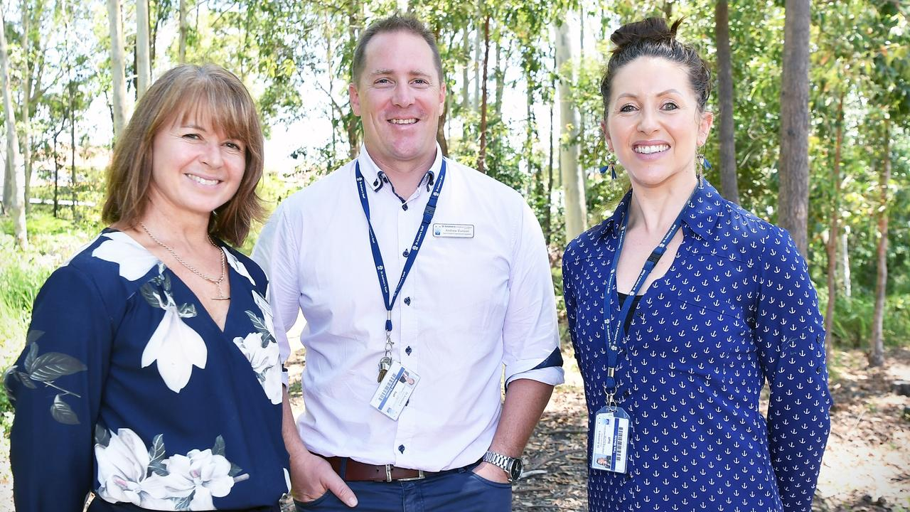 Master planning for the future are St Andrew's Anglican College director of music Sue Patterson, expansion project manager Andrew Eunson and college head of perfroming arts Tara Mackie. Photo: Patrick Woods.