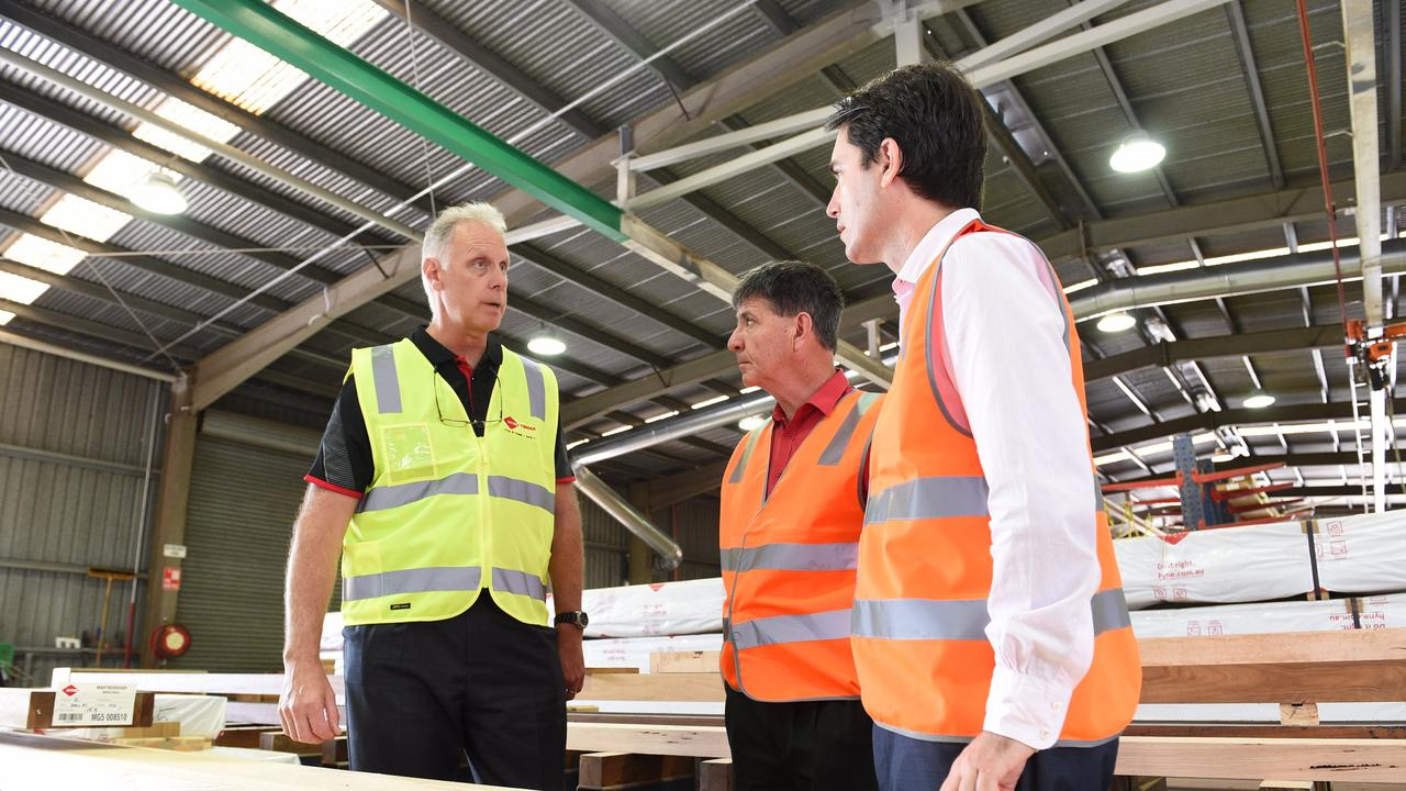 HYNE TIMBER: 50 new jobs are available with the long running timber business. Photo: CEO Jon Kleinschmidt with Member for Maryborough Bruce Saunders and Fraser Coast Mayor George Seymour.