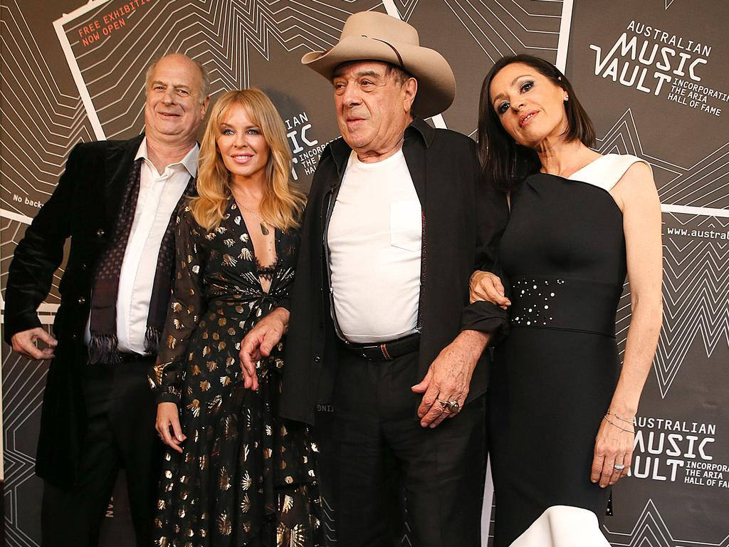 Michael Gudinski, Kylie Minogue, Molly Meldrum and Tina Arena at the opening of The Australian Music Vault. Picture: Ian Currie