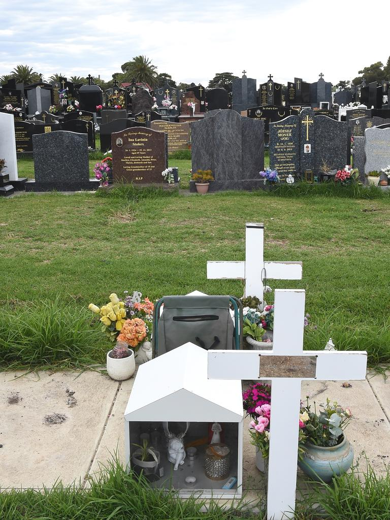 Karen Ristevski's grave at Williamstown cemetery Picture: Nicole Garmston
