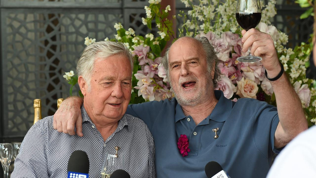 Owners Gerry Ryan and Michael Gudinski celebrate their Melbourne Cup win. Picture: Josie Hayden
