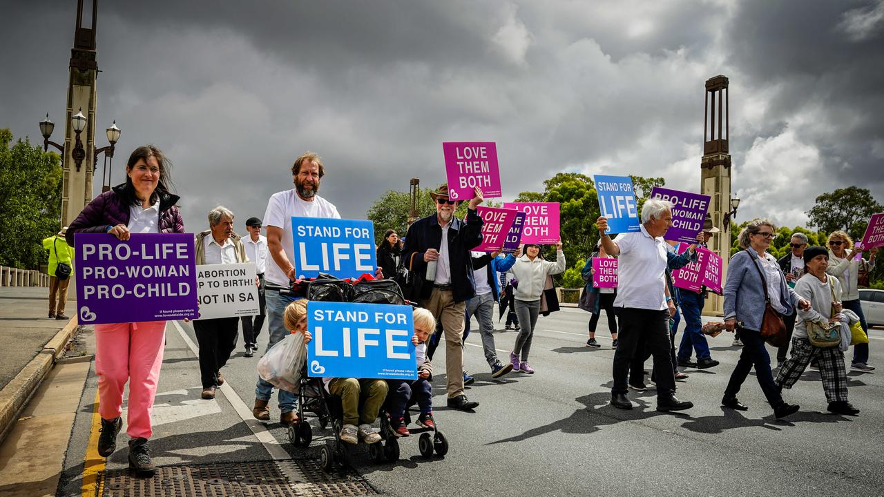 An anti-abortion rally at Pennington Gardens and march along the CBD streets, also last month. Picture: Mike Burton