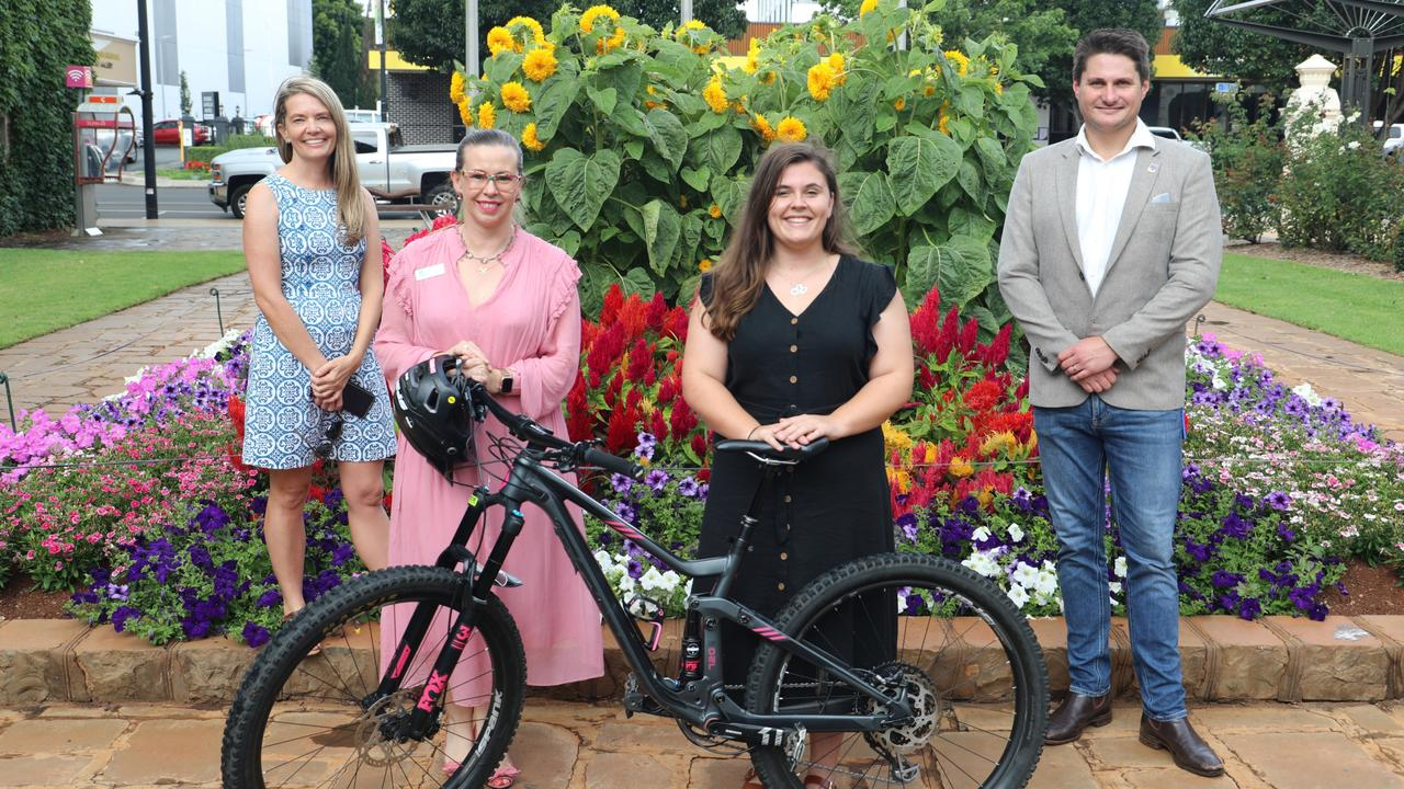 Getting ready for Parks Week in Toowoomba are (from left) Phoebe Kinley, Cr Melissa Taylor and Cr Tim McMahon.