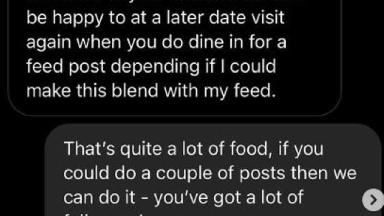 A pop-up restaurant in London had the best response to an influencer's request for five free meals. Picture: Instagram/@fourlegs_ldn.