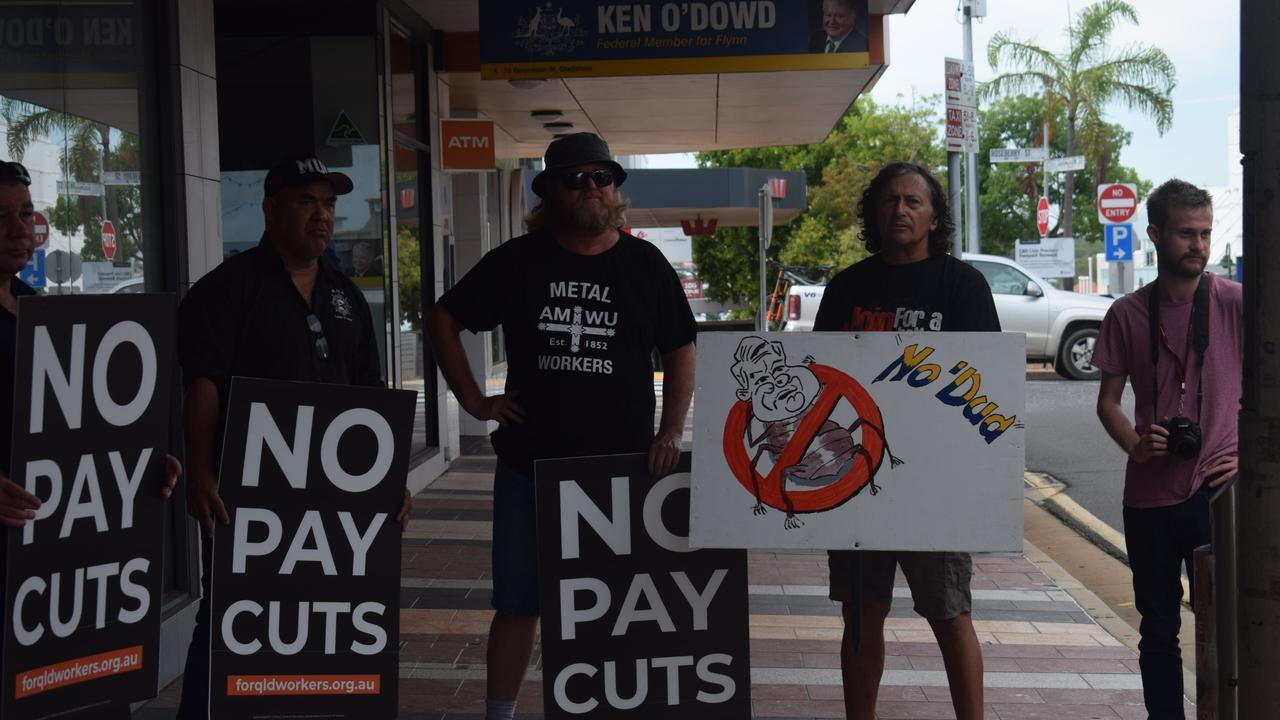 Worker's unions gathered outside of Ken O'Dowd office on Tuesday morning to protest the Industrial Relations Omnibus Bill.