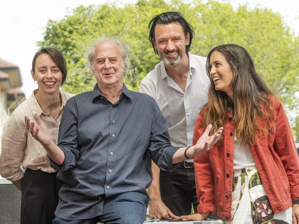 Michael Gudinski with Missy Higgins, Paul Dempsey (Something For Kate) and Gordi at the Sounds Better Together launch. Picture: Rob Leeson