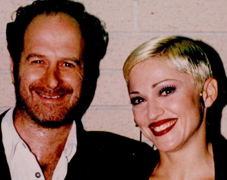 Michael Gudinski with Madonna during her Girlie Show Tour.