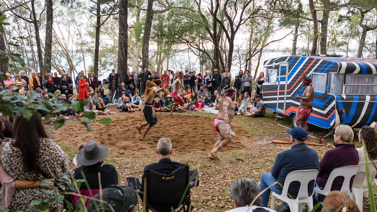 Official opening of Floating Land 2019 featuring the Gubbi Gubbi Dance Troupe at Boreen Point.