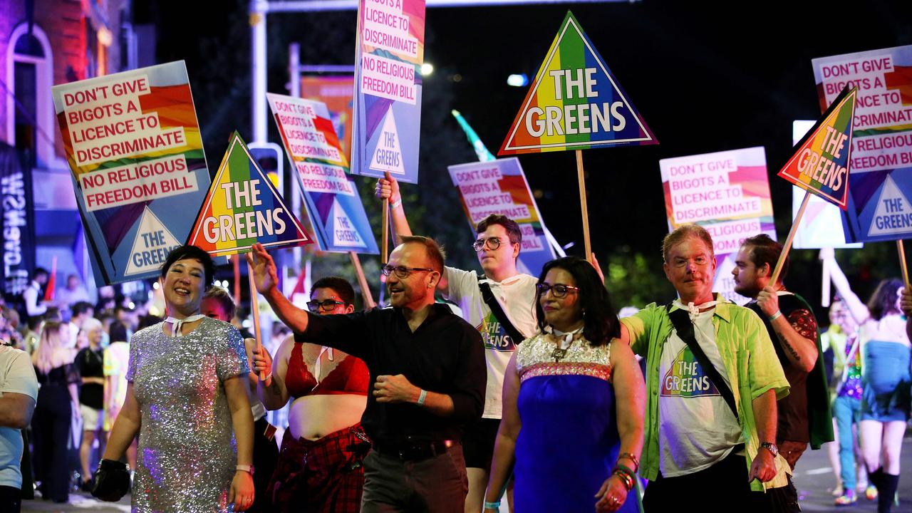 Greens politicians at the 2020 Sydney Gay and Lesbian Mardi Gras. Picture: Nikki Short
