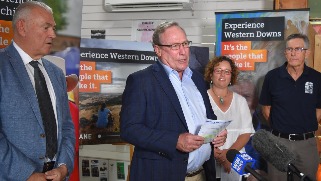 ENCOURAGING REGIONAL TOURISM: CEO of Southern Queensland Country Tourism Peter Homan, Mayor Paul McVeigh, Council Spokesperson for Tourism, Events and Regional Promotion Cr Kylie Bourne, and Miles Historical Village Museum President Kerry Mulholland. Picture: Sam Turner