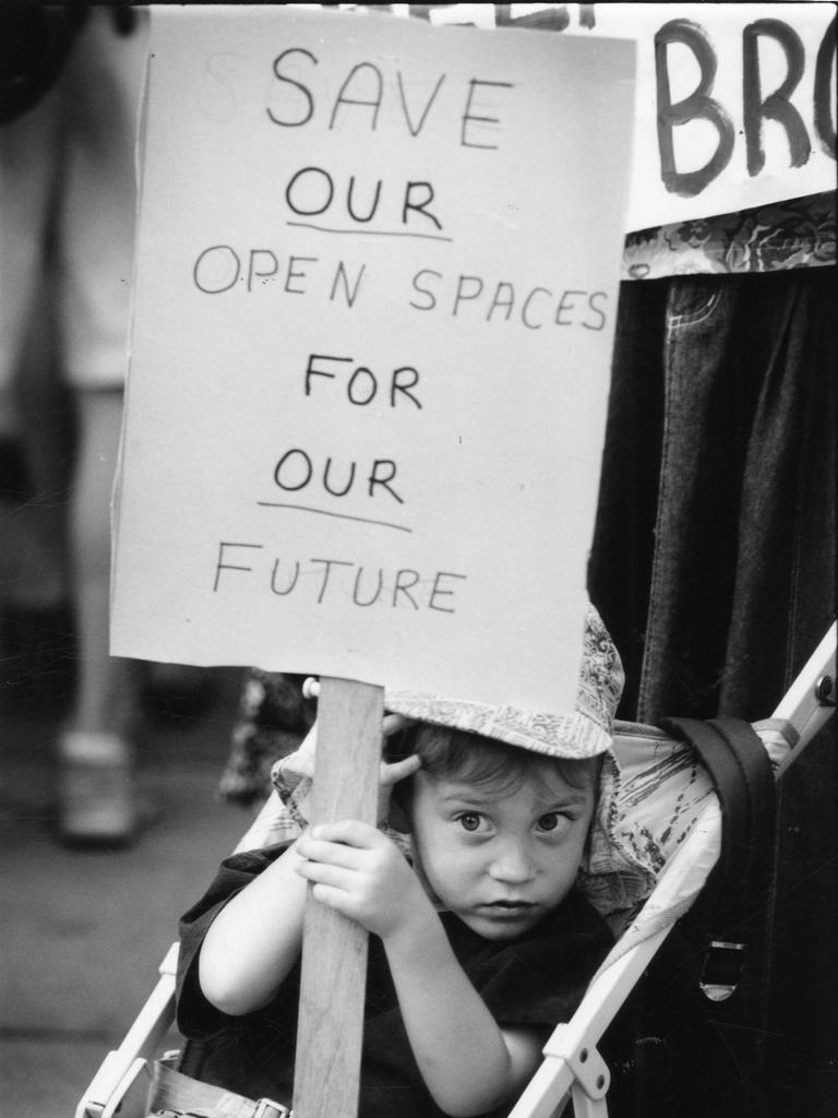 Joshua Love-Shepherdson, 4, of Plympton, with his message at z conservation rally in 1994. Photo: File