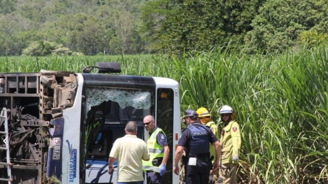 Fatal bus crash at Cannon Valley near Airlie Beach.