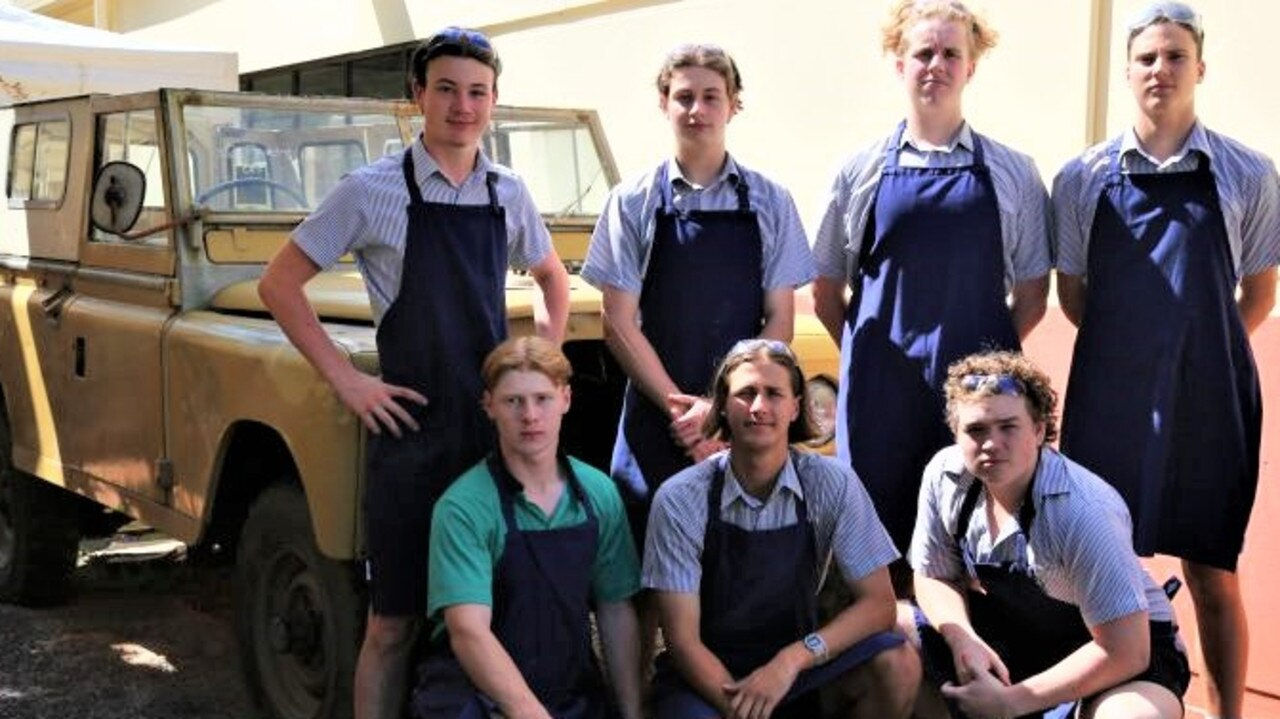 Part of the Rover electric conversion team are (back) Oliver Kilburn, Edward Hollett, Alex Johnson, Cal Sutton, (front) Harry Urbahn, Josh Poulton and Bailey Squassoni.
