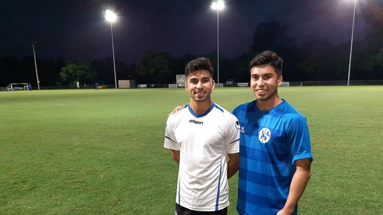 Western Spirit's Menendez twins Anthony and Gabriel share identical goals. Picture: David Lems