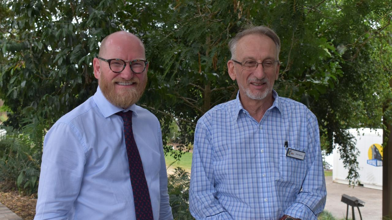 Advance Rockhampton Executive Manager Greg Bowden and Capricornia Chamber of Commerce President Phil Henry.