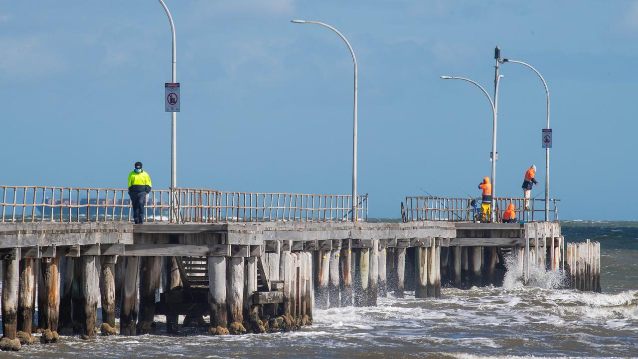 The girl, 15, was at the Altona Beach pier with friends when she was approached by a man on a jet ski, police allege. Picture: Jason Edwards
