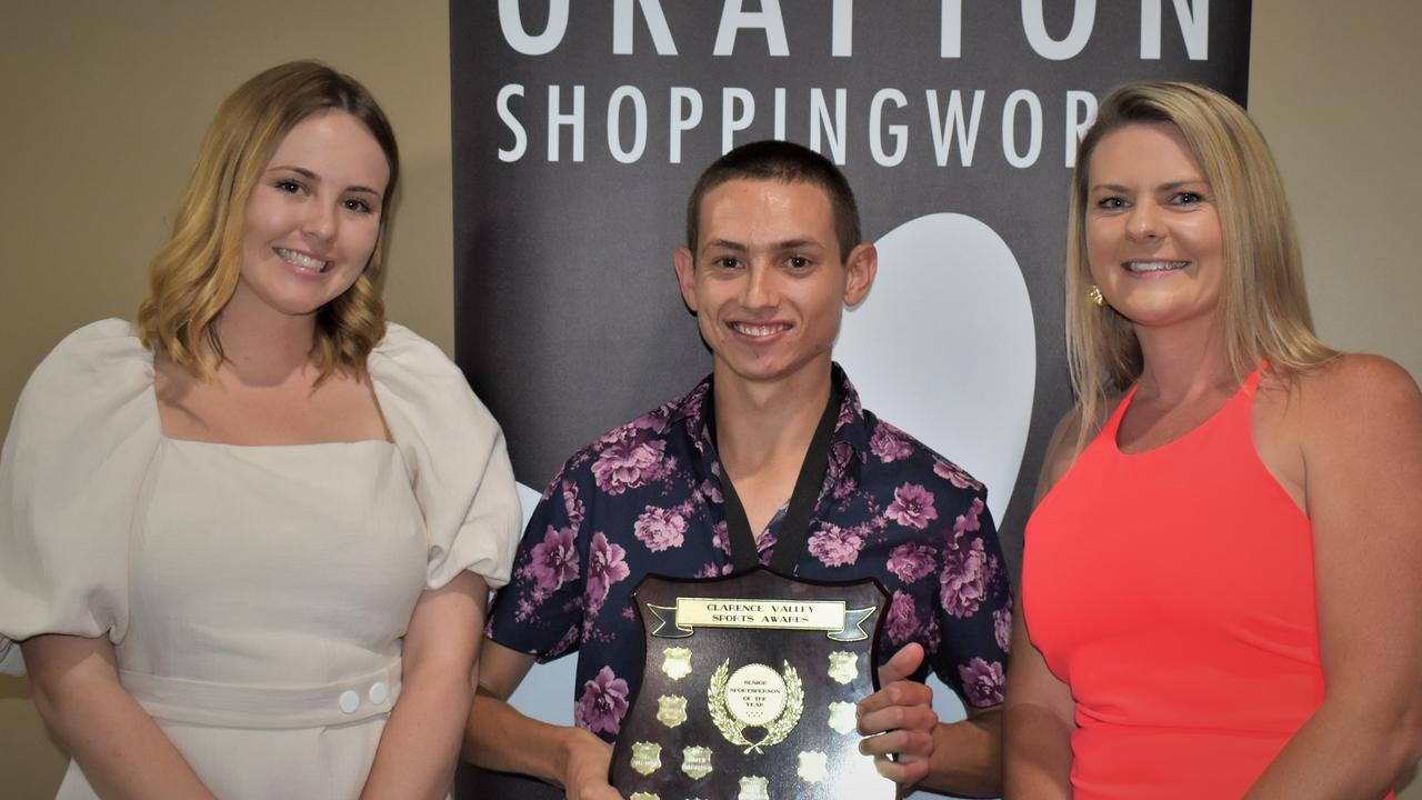 Clarence Valley Senior Sportserson of the Year Mitch Christiansen with Grafton Shoppingworld's Lauren Duguid and Chrystal Davies at the 2020 Clarence Valley Sports Awards at Grafton District Services Club on Saturday, 14th November, 2020. Photo Bill North / The Daily Examiner
