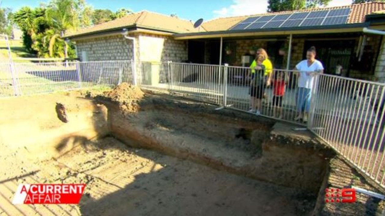 An uncompleted pool as featured on A Current Affair. Picture: Channel 9/A Current Affair