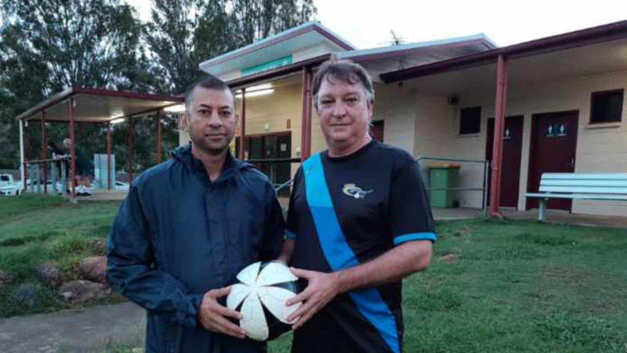 Western Spirit head coach Reginald Yaqub (leflt) with his assistant Nev O'Sullivan at the Brisbane Premier League team's Kippen Park headquarters. Picture: David Lems
