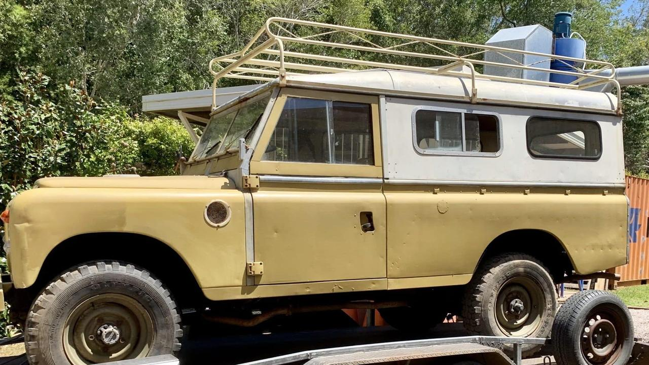 From diesel to electric, the old Land Rover arrives for its green conversion by college kids.