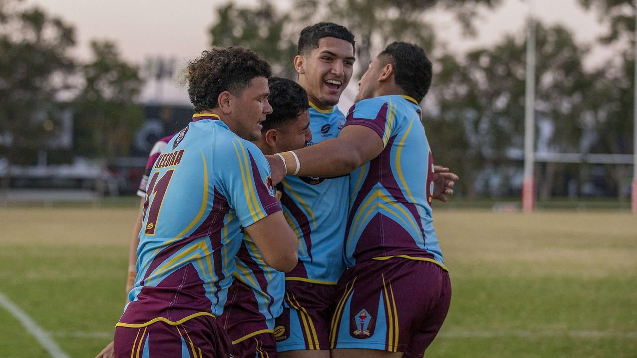 Langer Cup: Keebra Park SHS celebrate after Tuvalli Khan-Pereira crosses over the line in the match against Marsden SHS at Southport Tigers home ground Owen Park on Wednesday. Picture: Jerad Williams