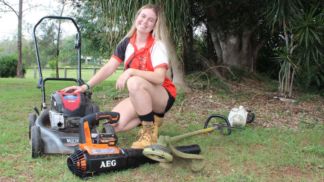 Brianna Mackenzie, 18, launched a business in yard work so she could earn money while studying at uni.