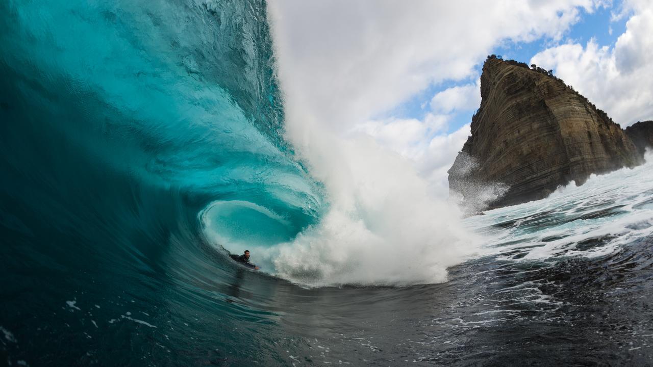 Tasmanian surfer Sam Lennox at Shipstern Bluff. Picture: Stu Gibson