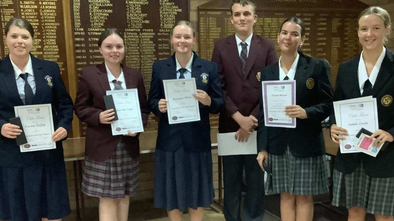 (From left) Emma Duffey (St Pat's), Charlotte Keogh (Gympie High), Annalise White (St Pat's), Owen Cross (Gympie High), Ashleigh Tomkinson (James Nash High) and Isabelle Cantle (James Nash High) at the Gympie South Lions Youth of the Year contest.