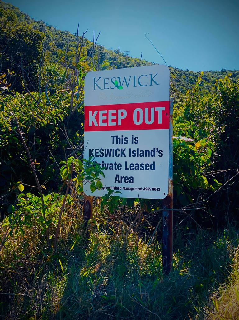 A sign barring access to a national park on Keswick Island in Queensland. Picture: supplied